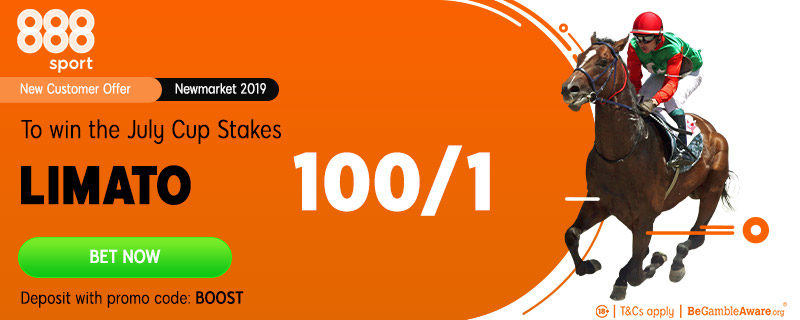 888sport 100/1 Limato Offer to win July Cup at Newmarket, 13 July 2019