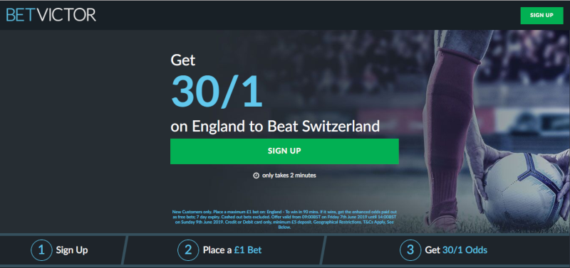 BetVictor 30/1 England offer to beat Switzerland.9th June 2019
