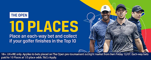 Coral 10 Places Each Way British Open Championship Offer