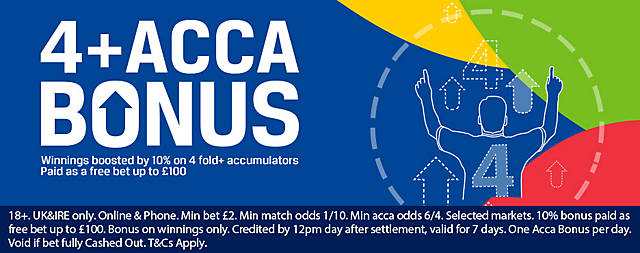 Coral 4+ Acca Boost Offer