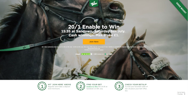 Mr Green 20/1 Offer: 20/1 Enable to win Coral Eclipse, 6 July 2019