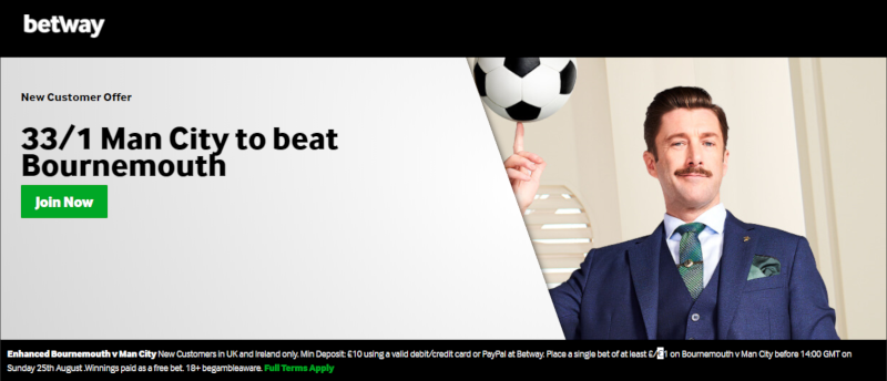 Betway 33/1 Man City offer to beat Bournemouth.25 August 2019