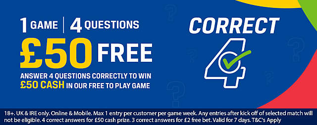 Coral Correct 4 Game: Win £50 Cash - Free to Play