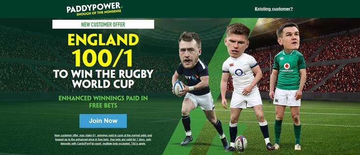 100/1 England Paddy Power RWC Offer