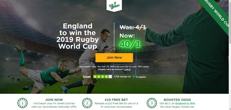 England 40/1 Mr Green Offer