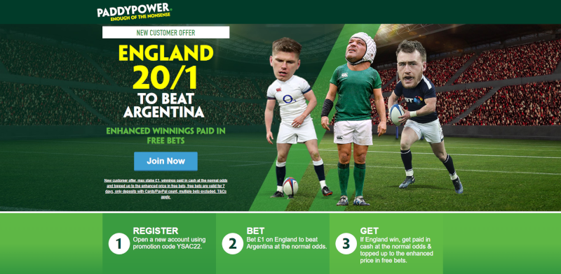 Paddy Power 20/1 England to beat Argentina Offer Rugby World Cup 2019