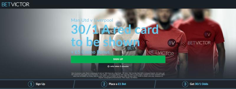 BetVictor 30/1 Red Card Offer Man United v Liverpool.20 Oct 2019