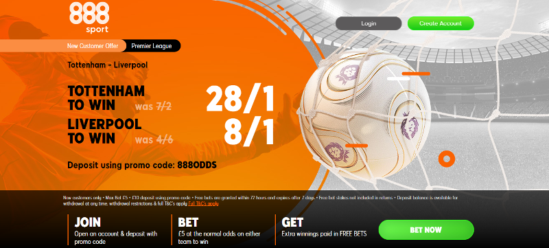 888sport 8/1 or 28/1 Liverpool and Spurs Offer