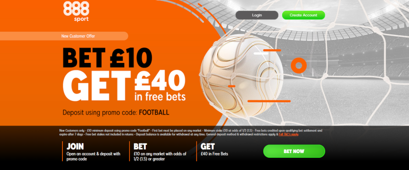 888sport £40 Free Bets Offer: Bet £10, Get £40