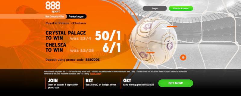 888sport 50/1 Crystal Palace of 6/1 Chelsea Offer.7 July 2020